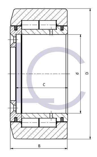 Skizze_Radiallager für Ausschubrolle BUL0700_R 100x164,8x65 mm